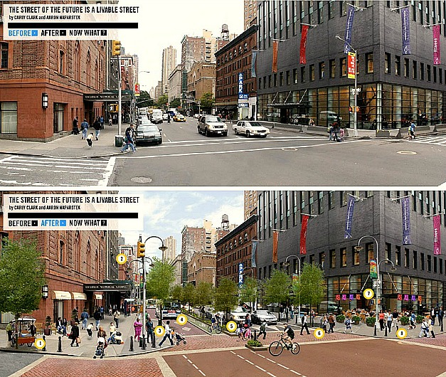 A before and after view of how a complete streets design policy can transform the urban landscape.