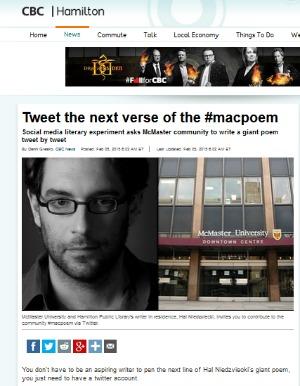 Read CBC Hamilton's story on the #macpoem.
