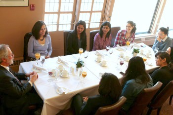 """""""The Brainiacs"""" enjoy their victory lunch at the University Club with McMaster President Patrick Deane."""