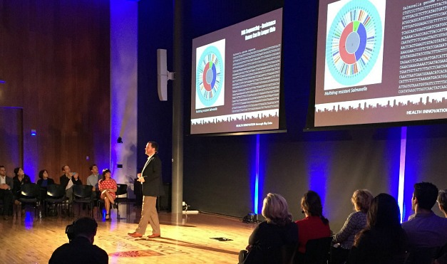 Andrew MacArthur, Cisco Research Chair in Bioinformatics, delivered his talk, Combatting Antibiotic Resistance Using Surveillance at Health and Social Innovation through Big Data, held at the David Braley Centre in downtown Hamilton.