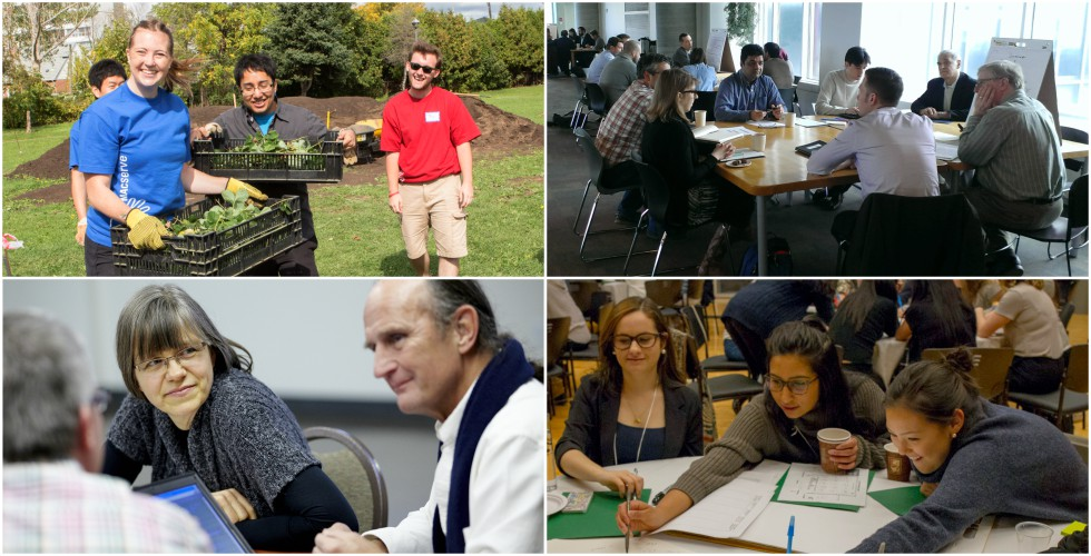Collage of images from community engagement activities at McMaster