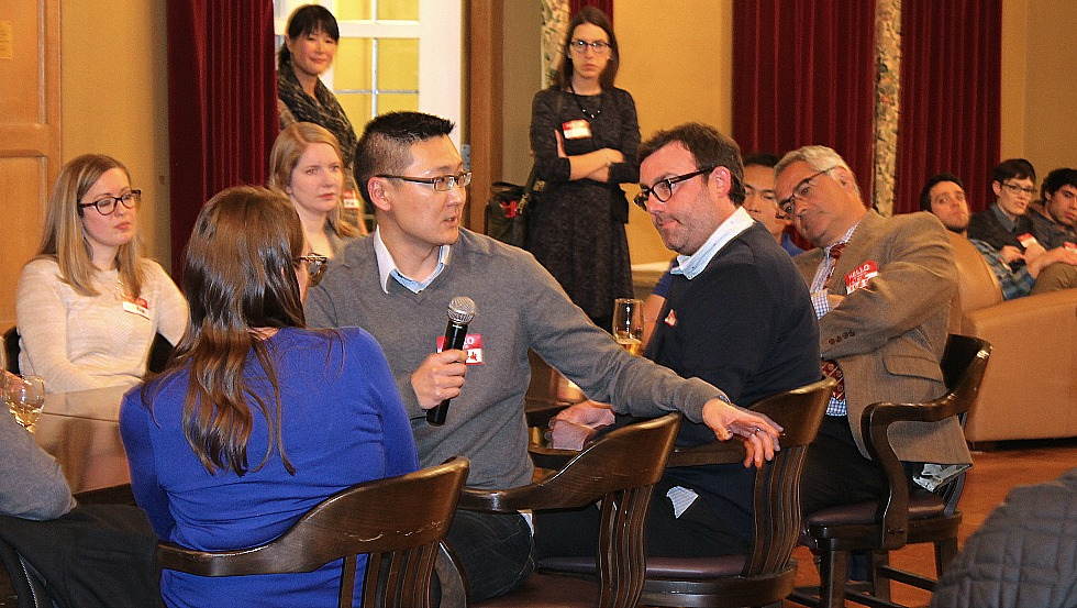 Richard Lee (pictured with microphone) was one of a ten McMaster alumni with Science PhDs who recently returned to campus for an event aimed at helping current PhD students learn more about career pathways outside of academia.