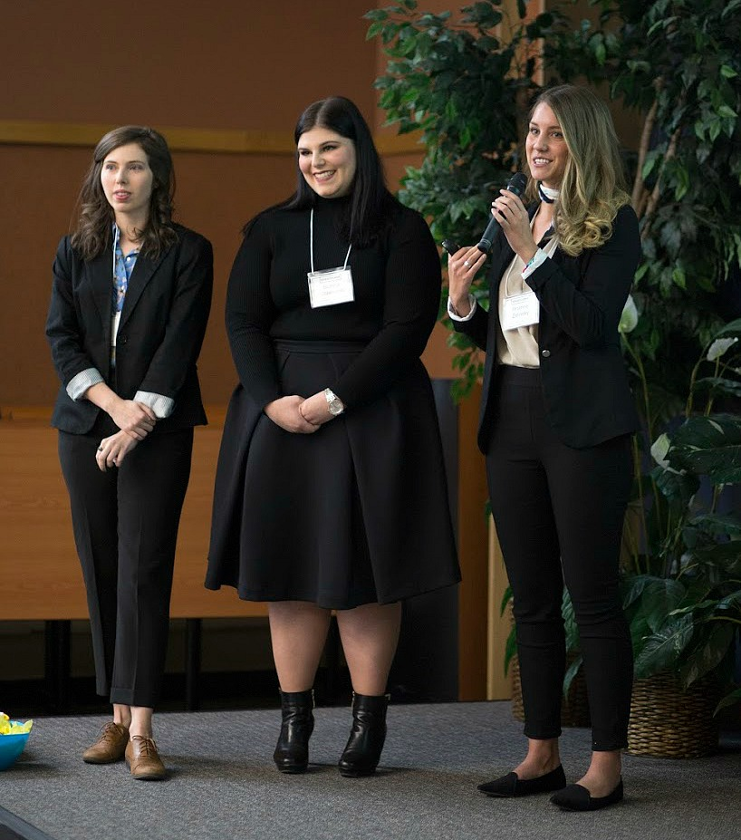 (From left) Brianne Zelinsky, Bianca Colangelo and Kenzie Beatty of team Before 8, were the runners up in the StratComm competition.