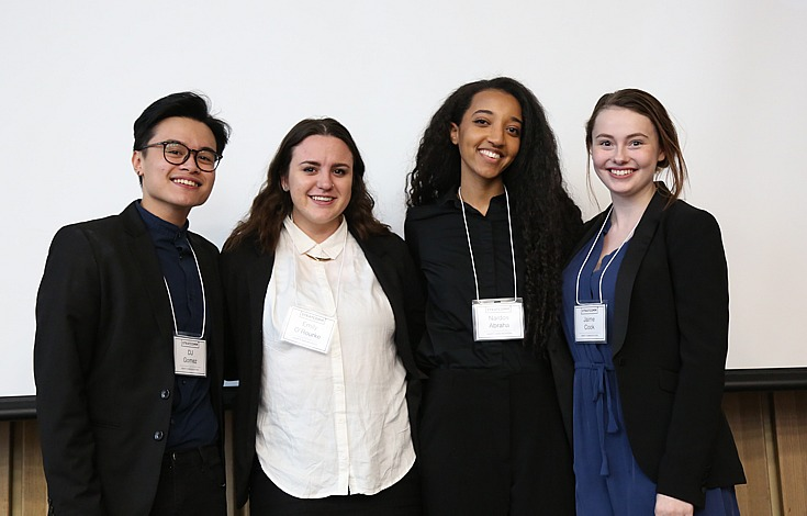 (From left) Multimedia and communications students Janus Gomez, Emily O'Rourke, Nardos Abraha and Jaime Cook, all members of team Sm@rt Communications took top honours at the sixth annual StratComm competition.