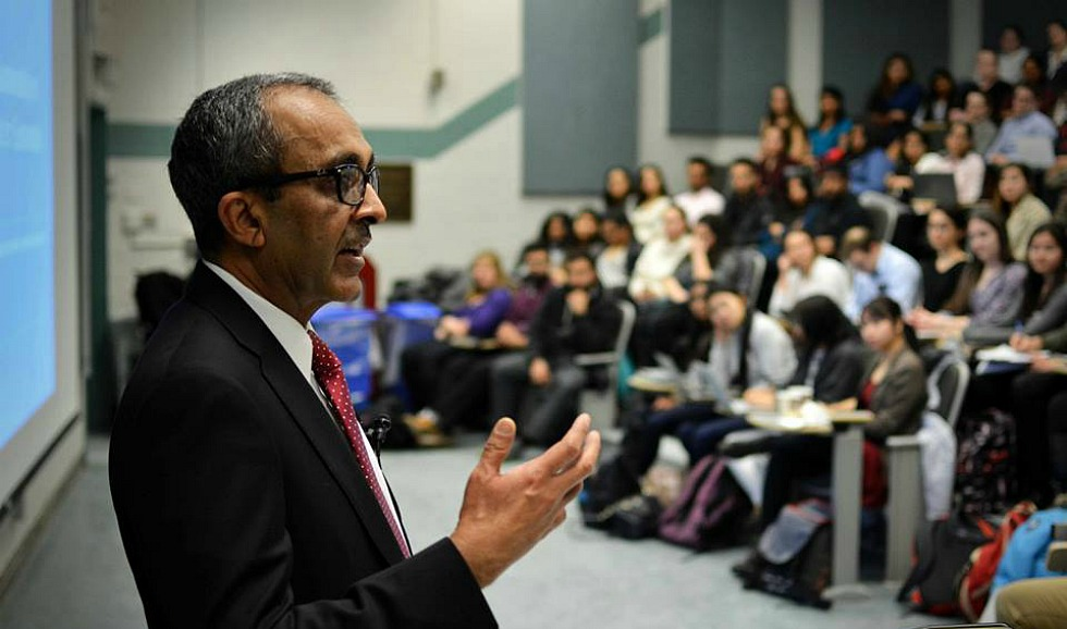 Jamil Ahmad, Deputy Director of the United Nations Environment Programme, speaks to 250 McMaster students at a recent workshop aimed at providing students with the tools they need to promote and support the UN's Sustainable Development Goals by taking action in their own community.