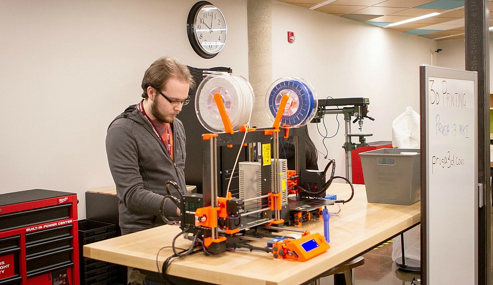 The newly launched Thode Makerspace, a partnership between McMaster University Library and McMaster's Faculty of Engineering, will have a range of both high and low tech equipment avaialbe for use by students from all Faculties including 3D printers like the one pictured here.