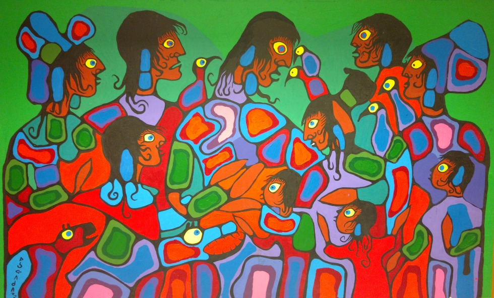 A painting by internationally renowned Canadian Indigenous artist Norval Morrisseau, titled The Family – a recent gift to the McMaster Museum of Art – is now permanently on in the lobby of the McMaster's Indigenous Studies Program in L.R. Wilson Hall.