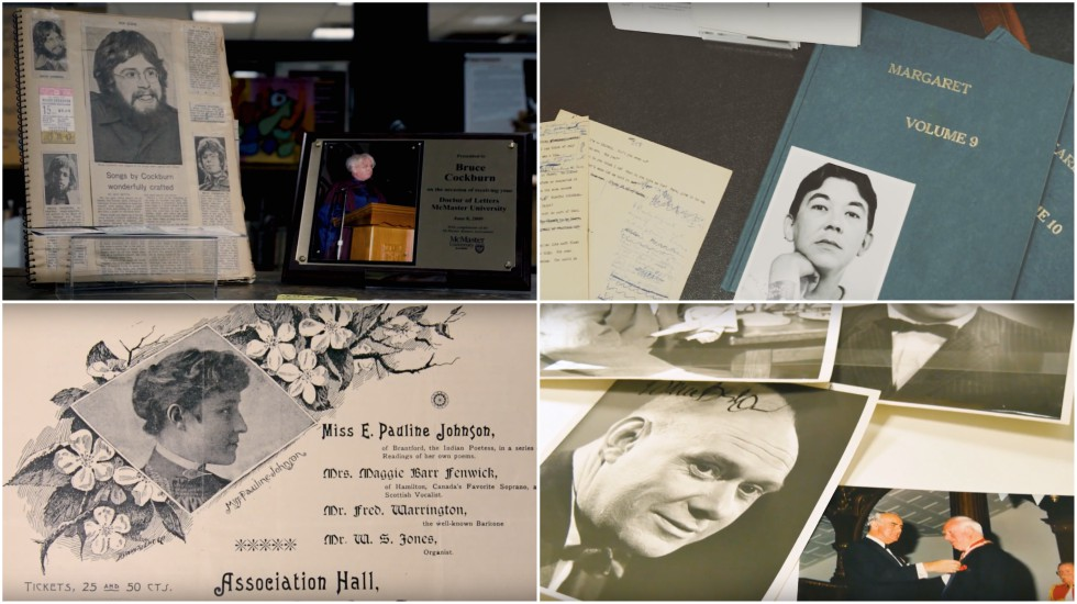 Materials from the collections of (from top left) Bruce Cockburn, Margaret Laurence (from bottom left) Pauline Johnson and Pierre Berton are among the artifacts featured in a new video series created to commemorate Canada 150.