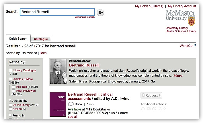 Screen grab of the Library's new catalogue system