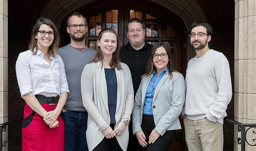 The new MacData fellows: From left to right: Katherine Eaton, Peter Tait, Lauren Smail, Tyler Roick, Angelina Pesevski and Omar Nassif.