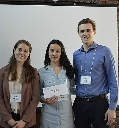 Jessica Morris, Monica Sanchez and Zachary Moll – all students in McMaster's Kinesiology Program – took first place in the competition.