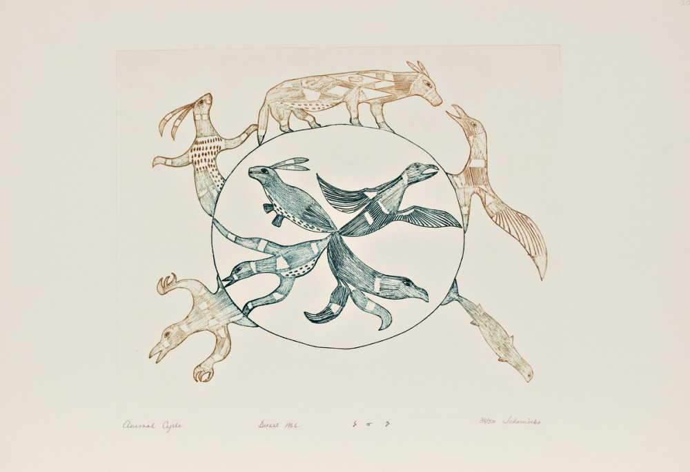 Animal Cycle by Johnniebo Ashevak (Inuit, 1923-1972). Engraving on paper, 1966. Edition 38/50. 32.5 x 50.4 cm., McMaster Museum of Art Collection. Gift of Douglas Davidson, 2018.Copyright Dorset Fine Arts.