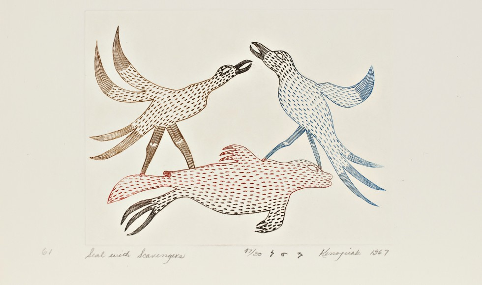 Feature image is by Kenojuak Ashevak (Inuit, 1927-2013), Seal with Scavengers, 1967. Engraving on paper (25 x 33 cm.), McMaster Museum of art. Gift of Douglas Davidson, 2018. Copyright Dorset Fine Arts.