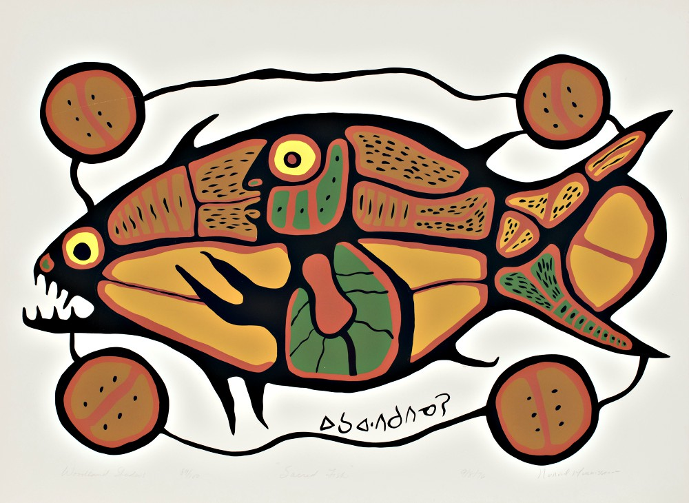 Sacred Fish (Woodland Series), 1976 by Norval Morrisseau (Objibew, 1932-2007). Serigraph on paper, 1966. Edition 89/100. 59.8 x 79.5 cm., McMaster Museum of Art Collection. Gift of Douglas Davidson, 2018.
