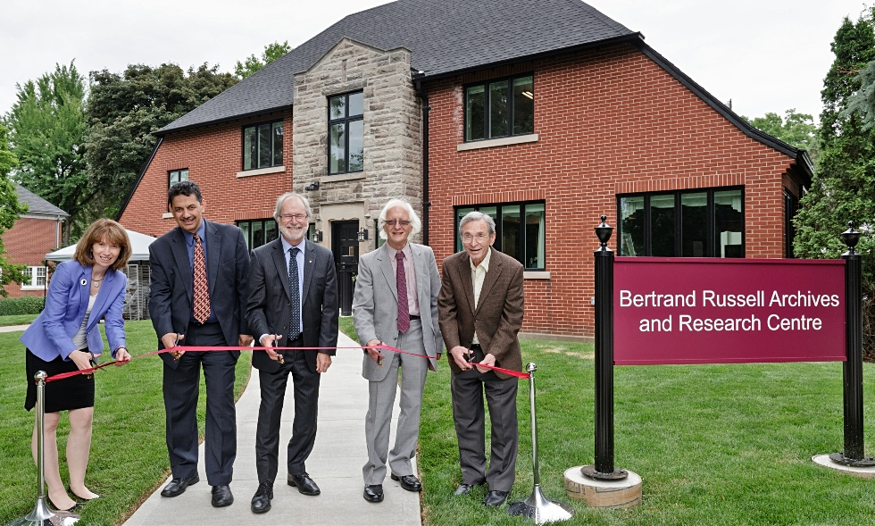 From left: Vivian Lewis, McMaster University Librarian; Mohamed Attalla, AVP and Chief Facilities Officer, Patrick Deane, McMaster President, Nick Griffin, Director, Bertrand Russell Research Centre; Ken Blackwell, Honourary Russell Archivist.