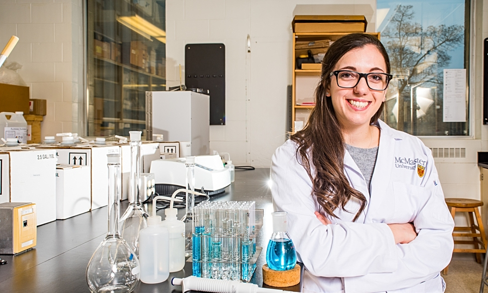 Image of chemical biology graduate Victoria Marano in a lab at McMaster.