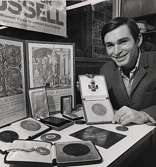 Image of Ken Blackwell in his early days as McMaster's Russell Archivist.