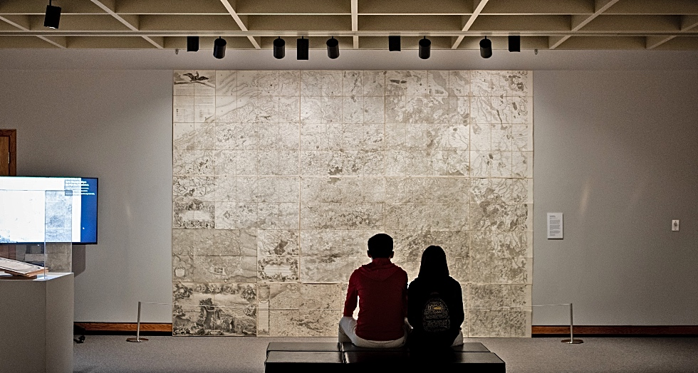 A large scale map of the Austrian Netherlands produced during the Napoleonic era hangs in the McMaster Museum of Art, the centrepiece of a special exhibit showcasing McMaster's Clifford Map collection.