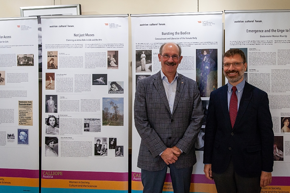(From right) Deputy Head of Mission at the Austrian Embassy, Bernhard Faustenhammer and Vice-Provost, International Affairs, Peter Mascher. Faustenhammer was recently on campus for a special exhibit celebrating Austrian women who have made a lasting contribution to the empowerment of women worldwide.