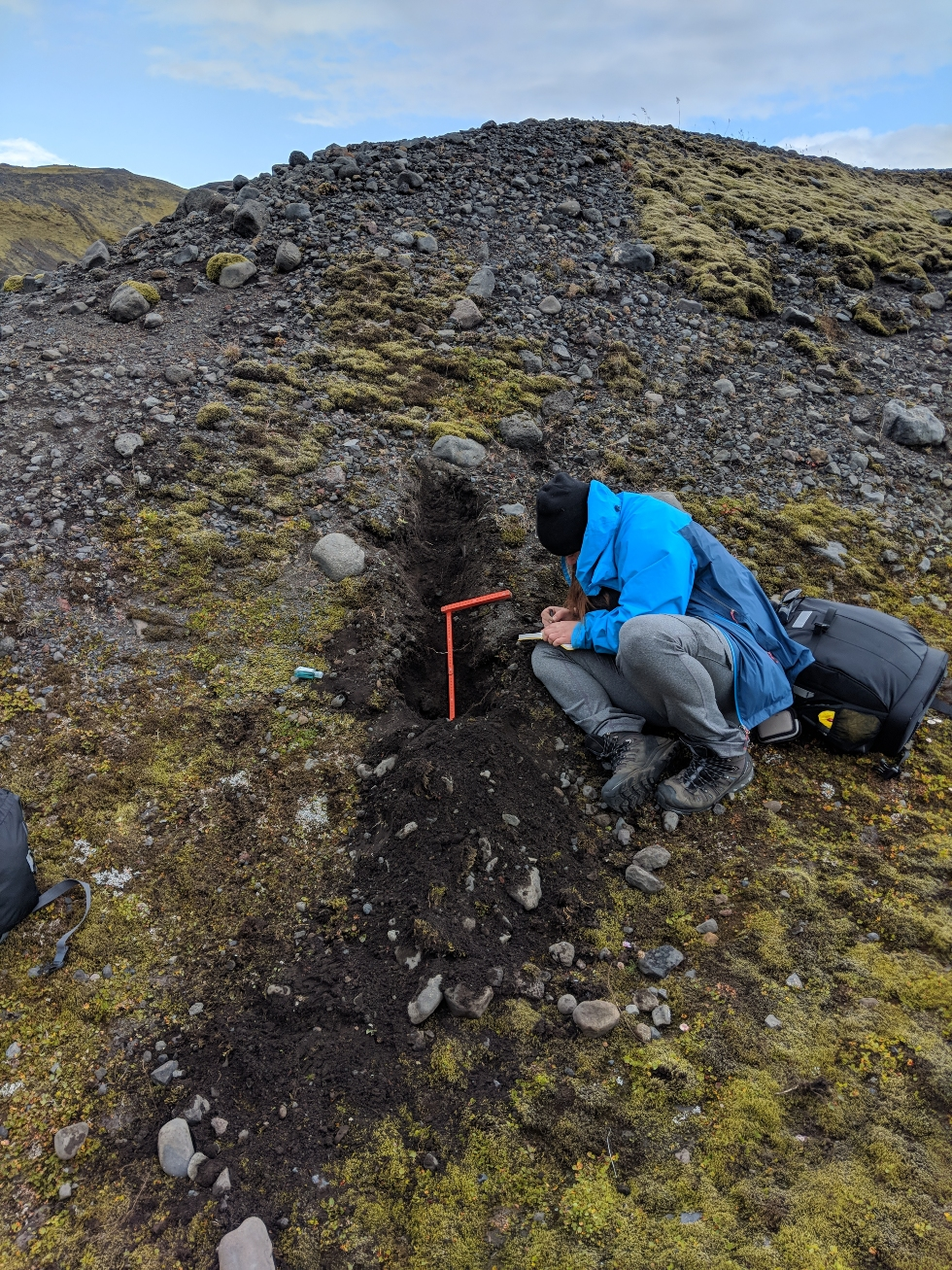 Collection of sedimentological data is often done by digging pits in a variety of landforms where we then analyze the type, shape and size of the various sediments to try and understand how they were deposited. Here you can see me recording the sedimentological characteristics of a moraine. Note: using a scale (orange ruler) is integral to field work!