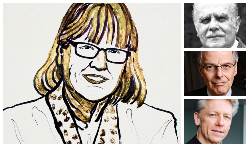 Nobel laureates Donna Strickland, Bertram Brockhouse, top right, Myron Scholes and James Orbinski.