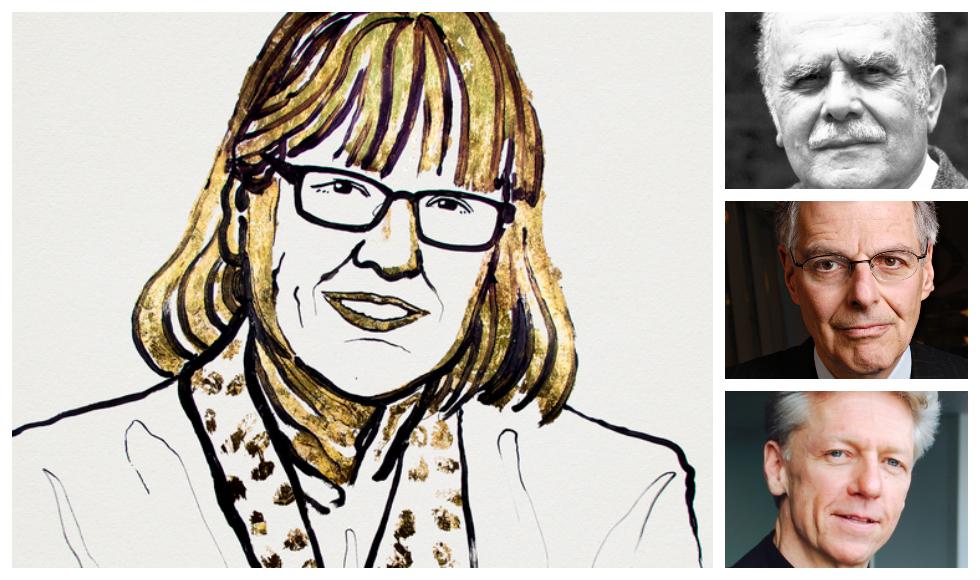 Nobel laureates Donna Strickland, Bertram Brockhouse, top right, Myron Scholes and James Orbinski.