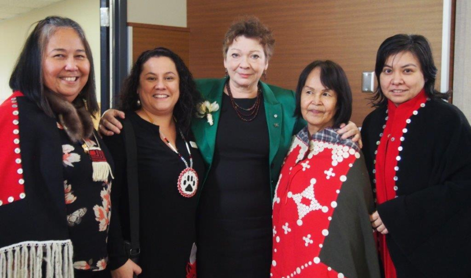 Jan Christilaw, centre, with members of the Indigenous Health program team at B.C. Women's Hospital and Health Centre. Photo courtesy of B.C. Women's Health.