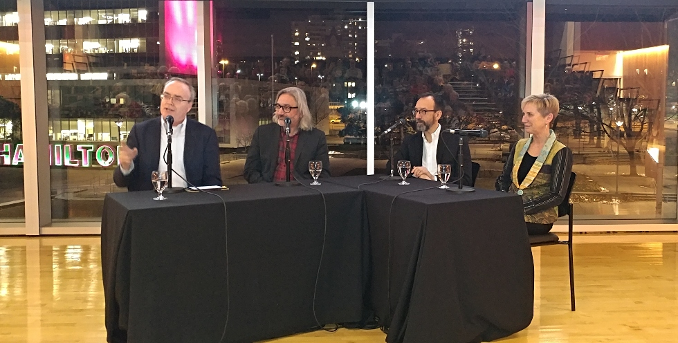 Acclaimed authors (from left) Terry Fallis, Gary Barwin, Trevor Cole, and Kim Echlin recently took part in an event hosted by McMaster University Library in celebration of the 20th anniversary of McMaster's Mabel Pugh Taylor Writer in Residence program.