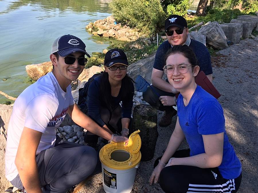 Students caught a number of fish that can be found in Hamilton Harbour including the round goby, log perch and rock bass.