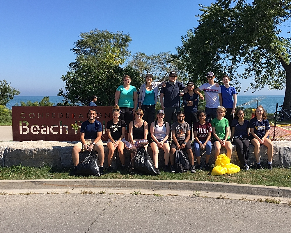 Students took in part in International Coastal Clean-Up Day, removing garbage along a section of Confederation Beach