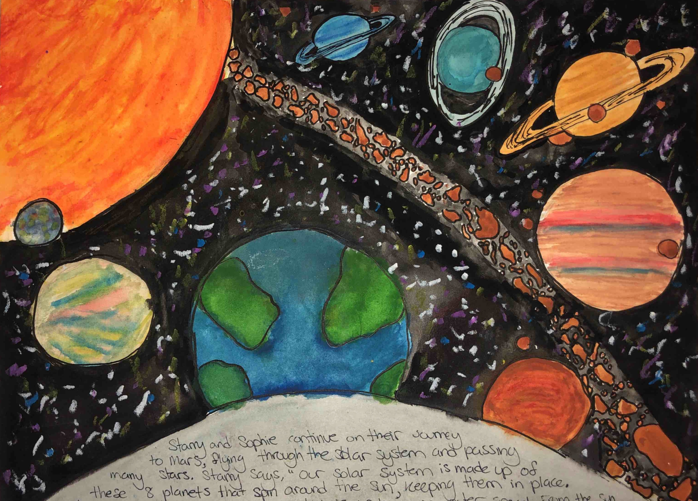 A page from student Zoe Bustard's children's book, Sophie's Journey to Mars.
