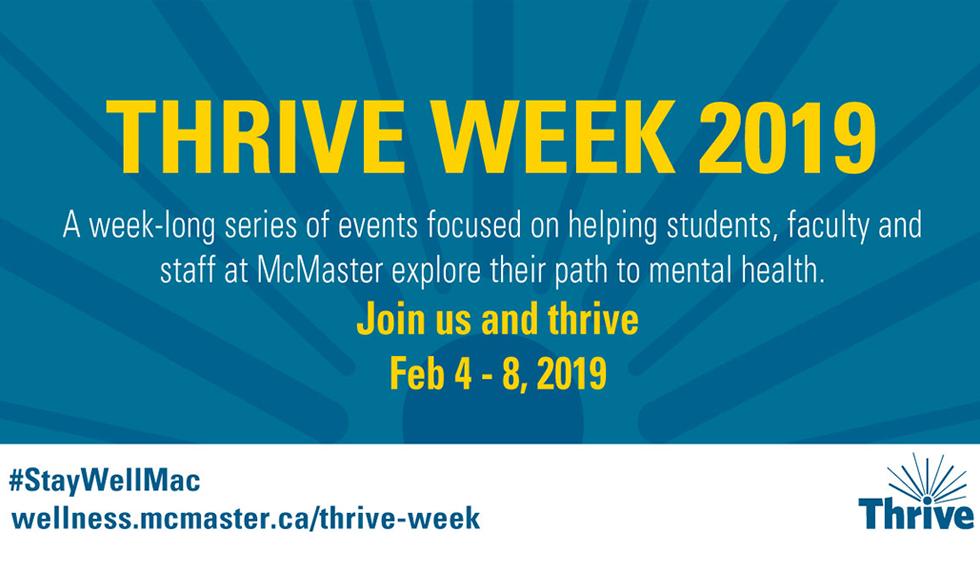 Thrive Week, McMaster Student Wellness Centre