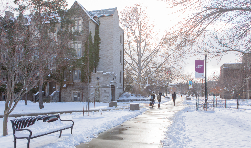 McMaster campus in winter, looking towards the back of University Hall