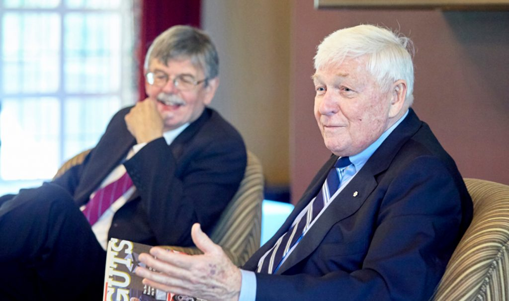 Gord Pitts, at left, sitting with Red Wilson, former chancellor of McMaster.