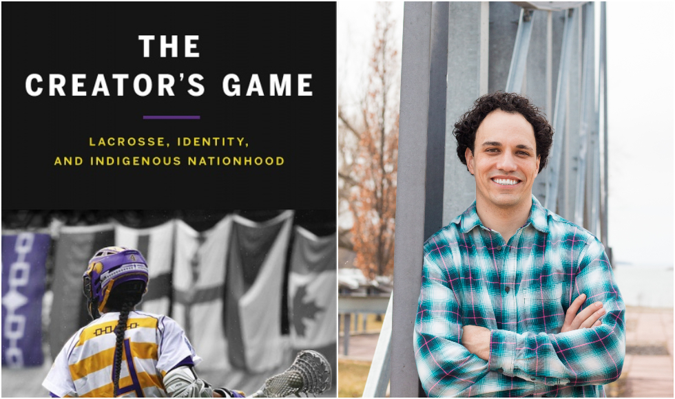 A photo of the cover of The Creator's Game, and a photo of Allan Downey standing at a memorial to Haudenosaunee ironworkers