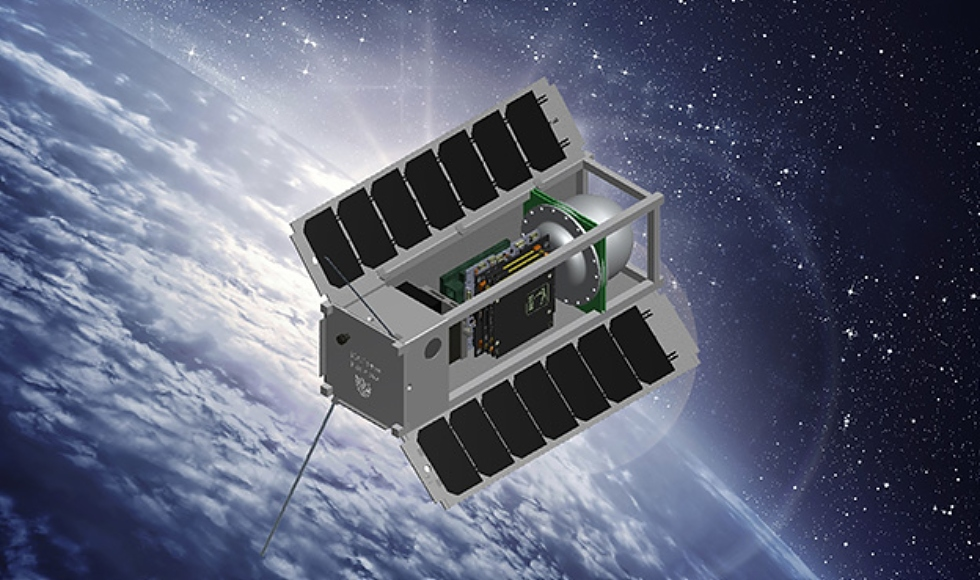 A rendering of a small satellite orbiting Earth