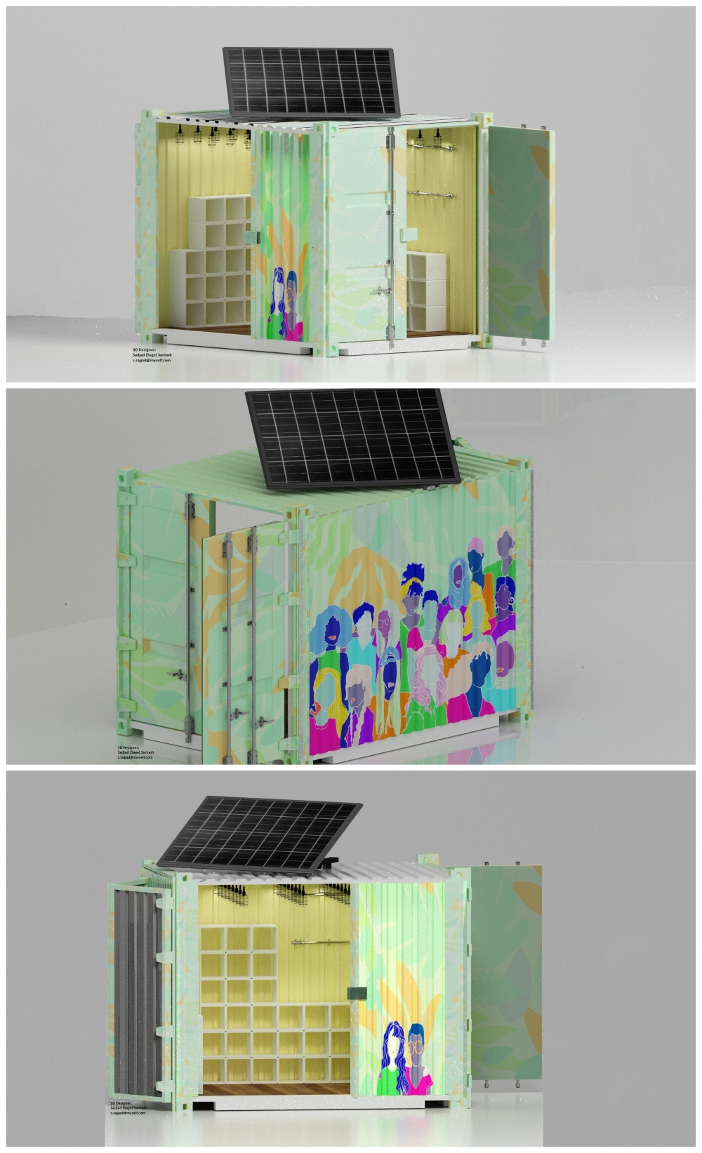 3D models of the Business of The Box container designed by Pourkeveh, Sarhadi and Haghshenas.