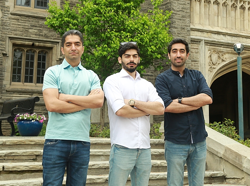 From left: Hamed Pourkeveh, Sadjad Sarhadi and Ashkan Haghshenas, all graduate students in the Walter G. Booth School of Engineering Practice and Technology.