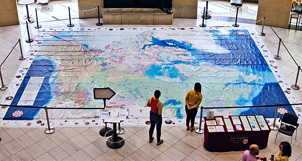 The 11 x 8 metre Indigenous Peoples Atlas of Canada Giant Floor Map created by Canadian Geographic, is on display from 9:00 a.m. to 5:00 p.m., on June 12 and 13 in MUSC Marketplace.