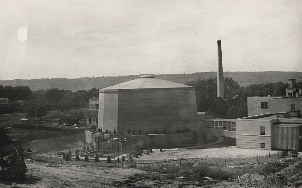 The McMaster Nuclear Reactor shown just after it opened in 1959. This images is from the McMaster University Collection in the Library's William Ready Division of Archives and Research Collections.
