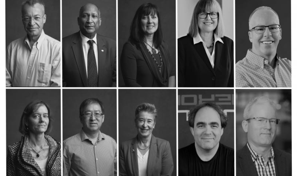 Black and white portraits of the 10 new fellos of the Canadian Academy of Engineering
