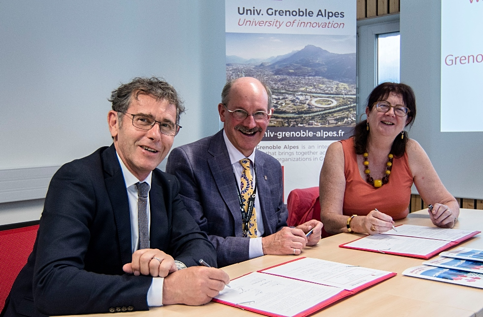 McMaster recently signed an MOU with Communauté Université Grenoble Alpes that will see the development of joint activities in a number of areas. (From right) Lise Dumasy, President of ComUE UGA, Peter Mascher, McMaster's Vice-Provost, International Affairs, and Patrick Levy, coordinator of IDEX Université Grenoble Alpes, an ambitious project aimed at creating a unique university in Grenoble with powerful international influence.