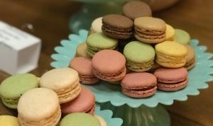 Two plates of macarons