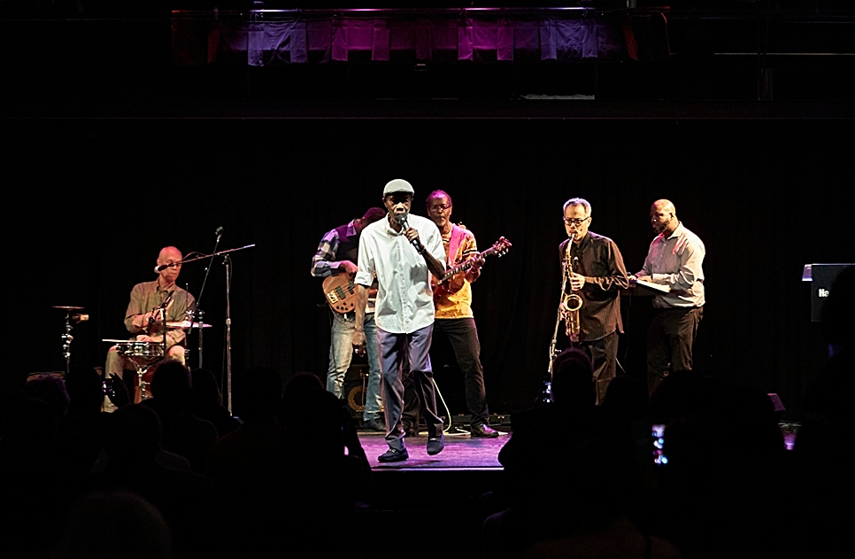 Jamaican-born soul singer, Jay Douglas and his band perform the traditional Jamaican happy birthday song in honour of the 100th anniversary of Miss Lou's birth. Photo: Harbourfront Centre, Toronto