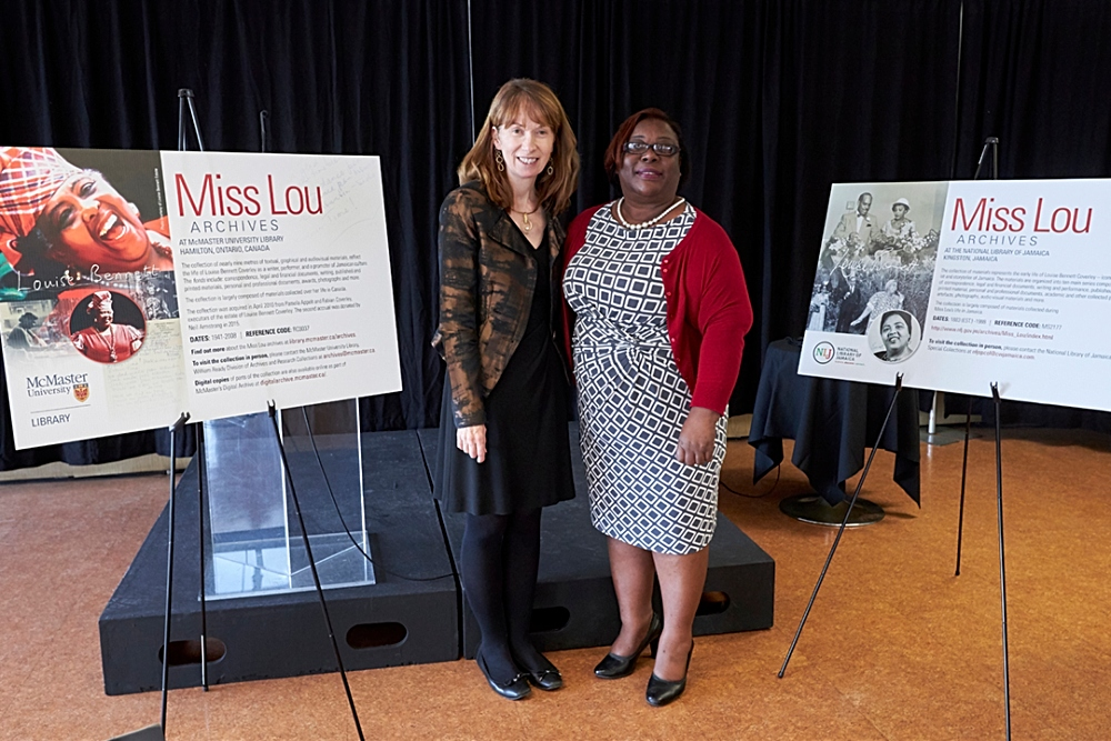 From left) McMaster University Librarian, Vivian Lewis and National Librarian of Jamaica, Beverley Lashley.