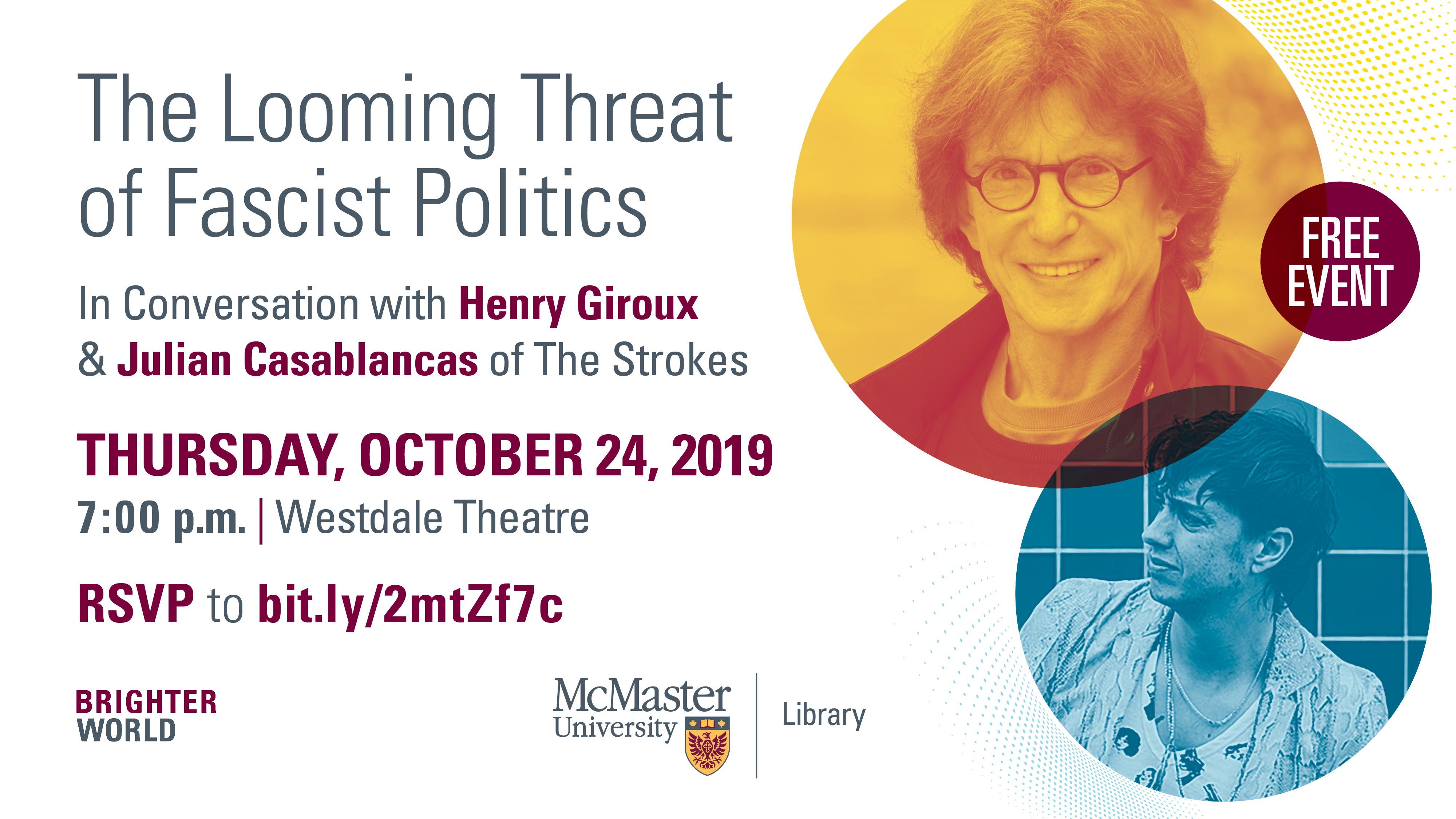 Promotional Poster for Henry Giroux, Julian Casablancas talk