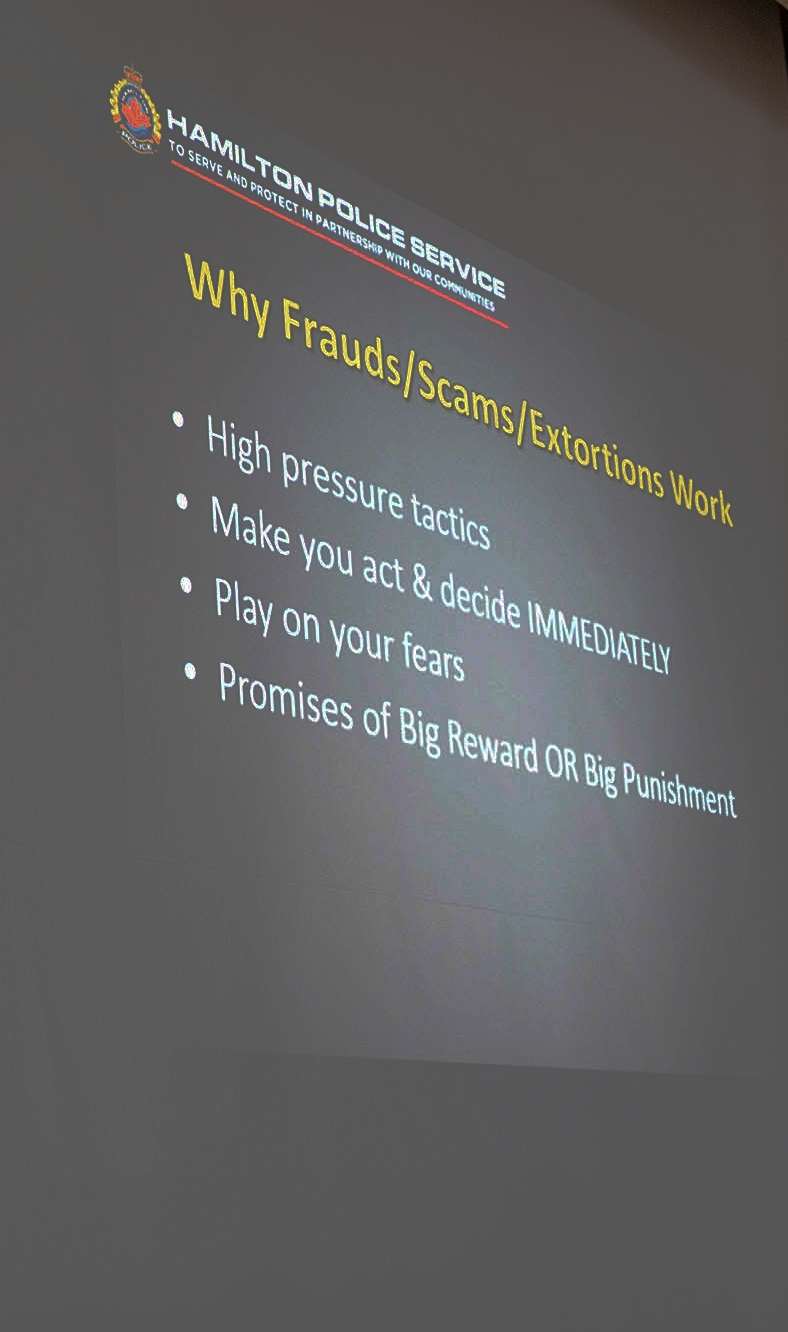 A police slide lists some of the pressure tactics scammers use: promising big rewards or big punishments, making targets act immediately and playing on their fears.