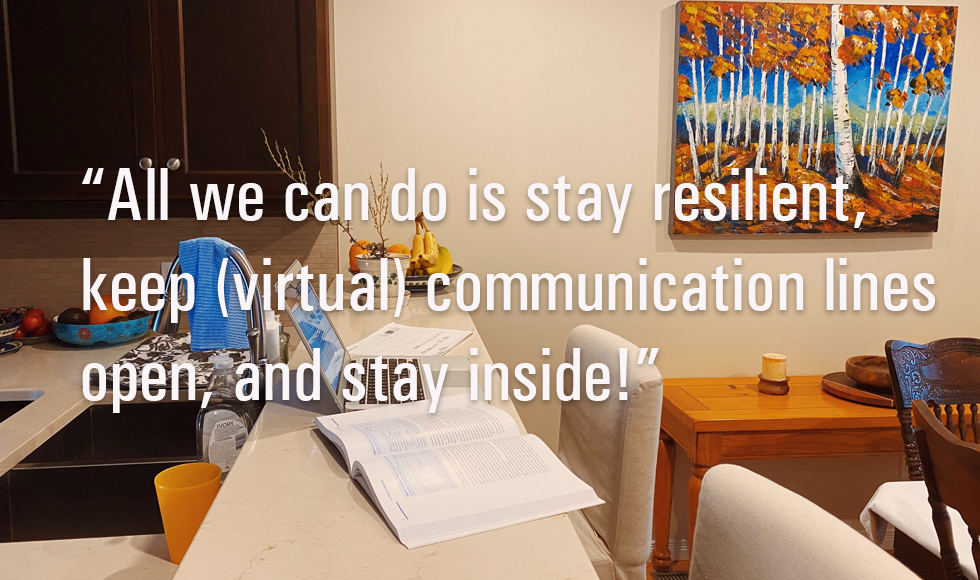 "Image from The COVID–19 Experience: Stock up, Stay Inside and Wash your Hands by Ainsley Smith ""While we all wait for the world to go back to 'normal', all we can do is stay resilient, keep (virtual) communication lines open, and stay inside!"""
