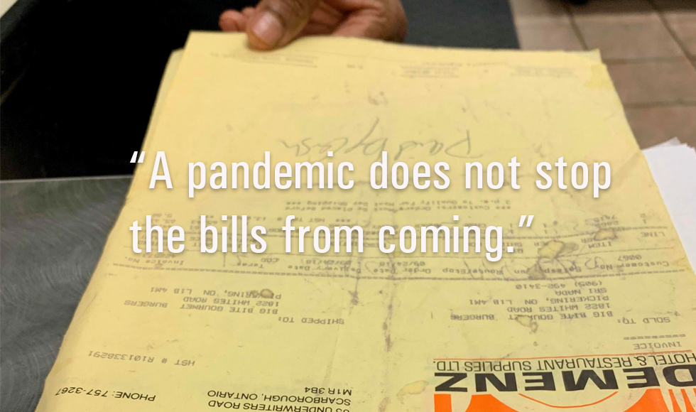 "Image from The Invisible Business Destroyer: Owning a Business During the Pandemic by Thiviya Srikanthan ""A pandemic does not stop bills from coming."""