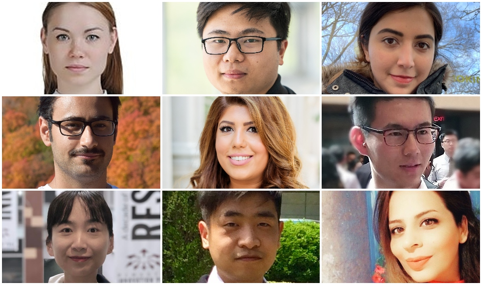 The 2020 MacData Fellows. Top row, from left: Gaisha Orlova, Pengxiao Xhou, Leila Mousapour. Middle row, from left: Iman Sadeghi, Mahdis Kamali, Jianpeng Liu. Bottom row, from left: Yujiao Hao, Jing Wang, Somayeh Ghazalbash.